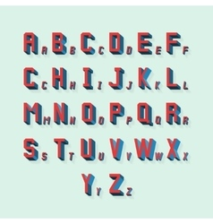retro volumetric 3d alphabet vector image