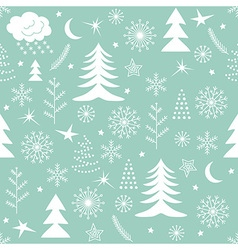 Seamless Christmas pattern green vector image