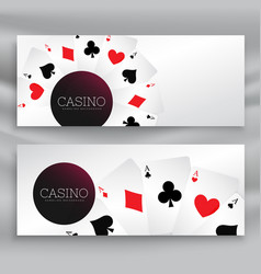 Set of casino banners with playing cards vector