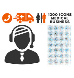 Sick dispatcher icon with 1300 medical business vector