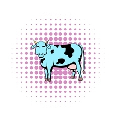 Spotted cow icon comics style vector