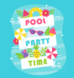 Summer pool or beach party poster or invitation vector