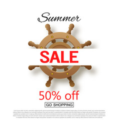 Summer sale banner background with ship steering vector