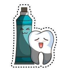 teeth funny character with toothpaste kawaii style vector image vector image