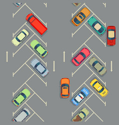 Urban cars seamless texture parking with cars vector