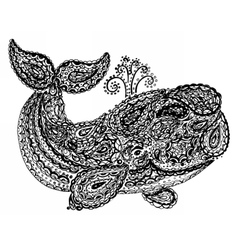 Whale in paisley doodle mehndi style vector image vector image