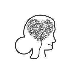 Woman head heart love romantic icon vector
