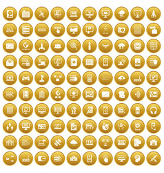 100 database and cloud icons set gold vector