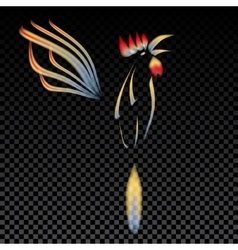 Abstract of a fiery rooster with a vector