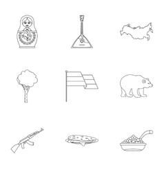 Tourism in russia icons set outline style vector