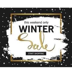 Winter sale background brush stroke with golden vector