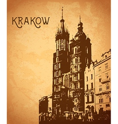 Vintage card with Krakow vector image