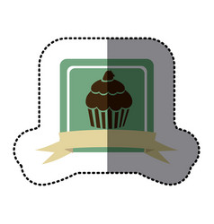 Green emblem muffin with strawberry icon vector