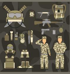 Military character weapon guns symbols armor man vector