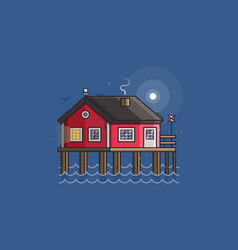 Red fisherman stilt house vector