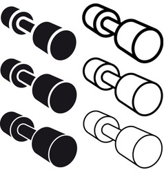 Dumbbell black white symbol vector