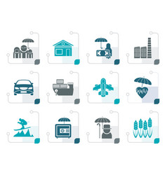 stylized different kind of insurance and risk icon vector image