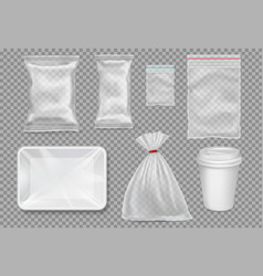 Big set of plastic packaging - sacks tray cup vector