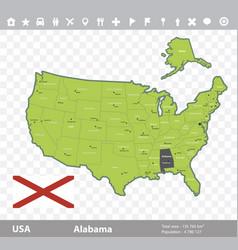 Alabama flag and map vector