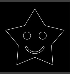smiling star white color path icon vector image
