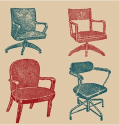 Seats set in retro stile vector image