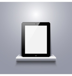 Modern computer tablet on shelf vector