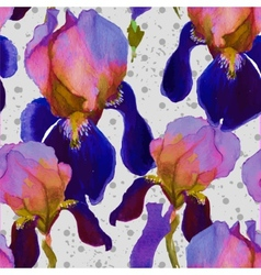 Seamless watercolor pattern with iris flowers in vector
