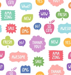 Colorful phrases seamless pattern on white vector image