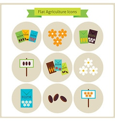 Flat agriculture and flowers icons set vector
