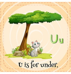 Flashcard letter U is for under vector image