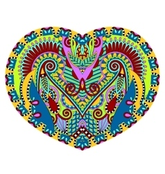 Lace heart shape with ethnic floral paisley design vector