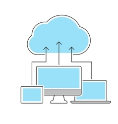 Cloud computing icons line concept vector image