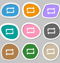 Repeat symbols multicolored paper stickers vector