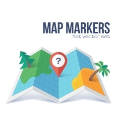 Red marker with question on flat style map vector