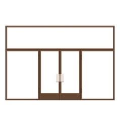 Wood shopfront with large black blank windows vector