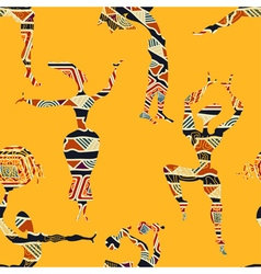 Ethnic yellow seamless texture with figures vector image