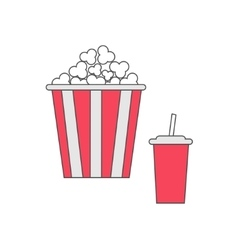 Popcorn and soda with straw cinema thin line icon vector
