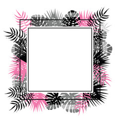 Abstract template with black and pink tropical vector