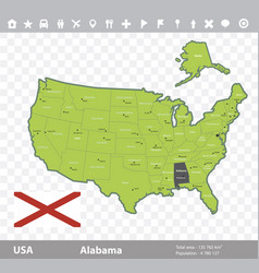 alabama flag and map vector image vector image