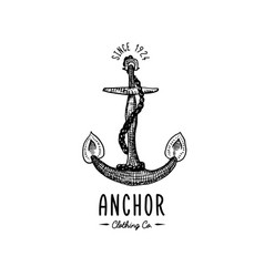 anchor engraved vintage in old hand drawn or vector image