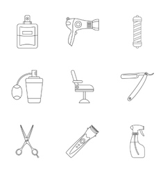 Barbershop icons set outline style vector