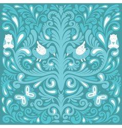 Beautiful floral pattern with owl vector