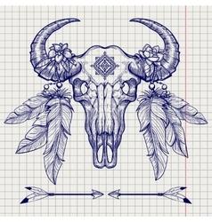 Buffalo skull ball pen sketch vector image vector image