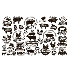 Butchery meat set logos icons elements labels vector