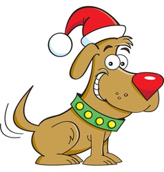 Cartoon Santa Dog vector image vector image