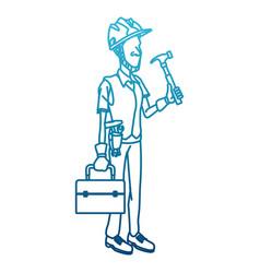 cartoon worker with tool vector image