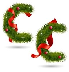 Christmas alphabet c vector