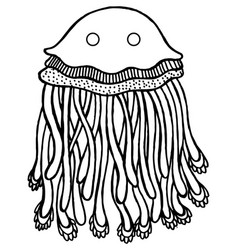 coloring page with cartoon jellyfish vector image vector image