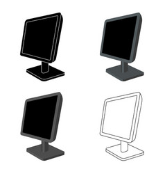 Computer monitor icon in cartoon style isolated on vector