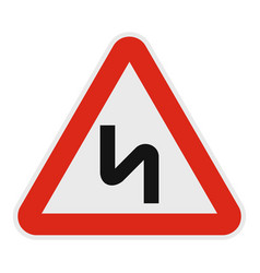 dangerous turn right icon flat style vector image vector image